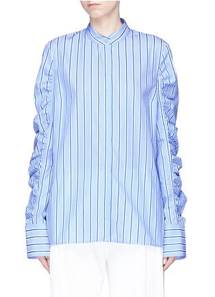 Main View - Click To Enlarge - VICTORIA, VICTORIA BECKHAM - Ruched sleeve stripe shirt