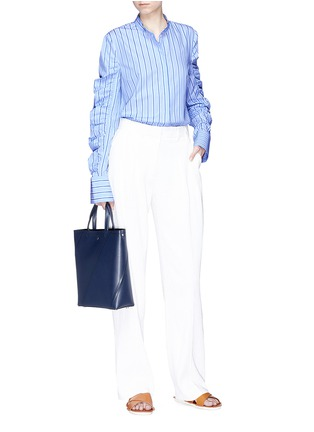 Figure View - Click To Enlarge - VICTORIA, VICTORIA BECKHAM - Ruched sleeve stripe shirt