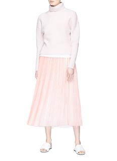 VICTORIA, VICTORIA BECKHAM Stripe pleated crepe skirt