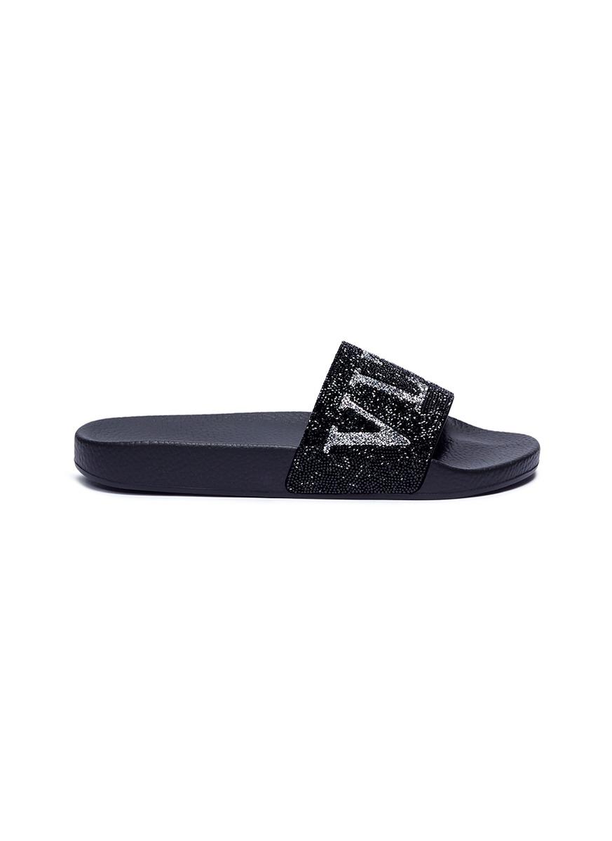 Valentino Women's Crystal Logo Slide Sandal 639aU6ZMS