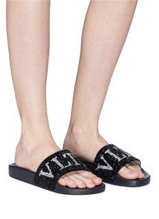 Valentino Swarovski crystal embellished logo slide sandals