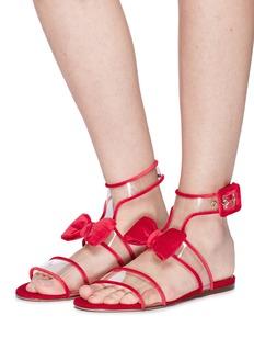 Valentino 'Dollybow' velvet pipe clear PVC sandals