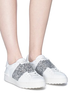 Valentino 'Open' Swarovski crystal panel leather sneakers