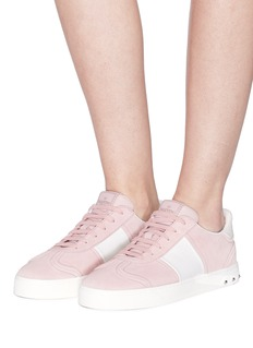 Valentino 'Flycrew' leather panel suede sneakers