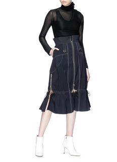 Akiko Aoki Contrast topstitching drawstring zip midi skirt