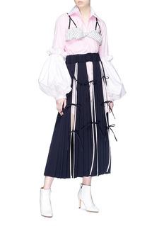 Akiko Aoki 'Yulia' bow slit pleated midi skirt