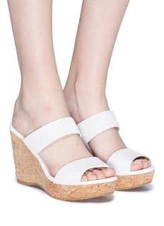 Jimmy Choo 'Parker 100' cork wedge embossed leather sandals