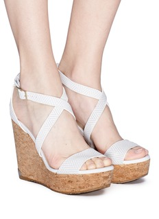Jimmy Choo 'Portia 120' cross strap cork wedge embossed leather sandals