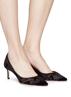 Jimmy Choo 'Romy 60' butterfly velvet flock pumps
