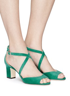Jimmy Choo 'Carrie 65' cross strap suede sandals