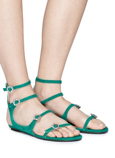 Jimmy Choo 'Naia' Swarovski crystal buckle caged suede sandals
