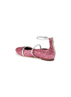 Malone Souliers 'Robyn' leather strap glitter kids ballerina flats