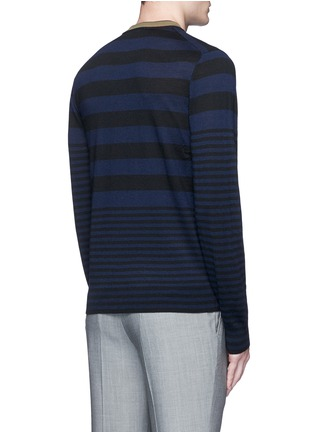 Back View - Click To Enlarge - PS by Paul Smith - Contrast neck stripe wool sweater