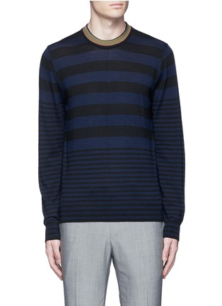 Main View - Click To Enlarge - PS by Paul Smith - Contrast neck stripe wool sweater