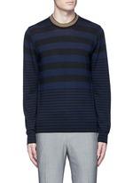 Contrast neck stripe wool sweater