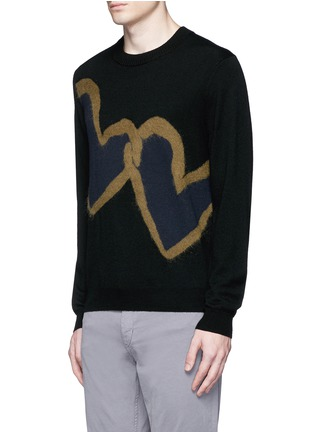Front View - Click To Enlarge - PS by Paul Smith - 'Chain-link Heart' Merino wool sweater