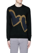 'Chain-link Heart' Merino wool sweater