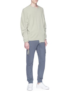 Safe Sunday x Lane Crawford Drawstring sleeve reverse panel asymmetric sweatshirt