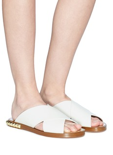 Stuart Weitzman 'Rockrose' stud heel cross strap leather slide sandals