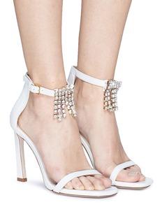 Stuart Weitzman 'Fringe Square Nudist' glass crystal leather sandals