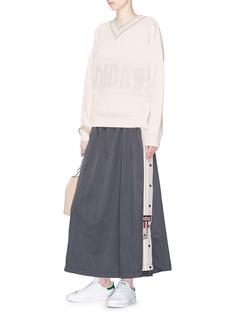 Adidas 'Adibreak' snap button stripe outseam maxi skirt