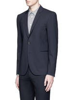 Slim fit micro check wool blazer