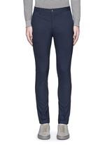 Slim fit micro check wool pants