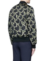'Chain-link Heart' print bomber jacket