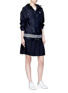 Adidas 3-Stripes logo print hooded windbreaker jacket