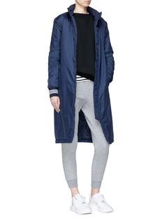 Adidas Logo print back padded long windbreaker jacket