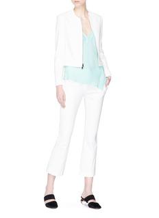 Theory Asymmetric mock wrap silk georgette camisole top
