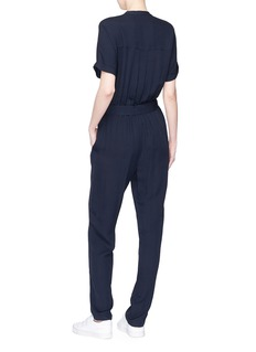 Theory Belted cargo shirt silk jumpsuit