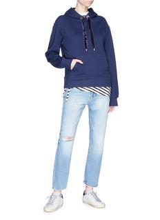 Safe Sunday x Lane Crawford Velvet drawstring hoodie