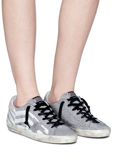 Golden Goose 'Superstar' chevron stripe print glitter coated sneakers