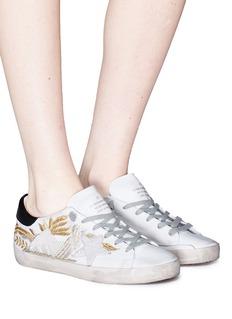 Golden Goose 'Superstar' leaf embroidered faux pearl embellished sneakers