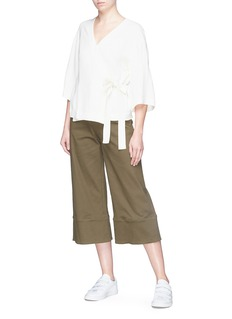 Theory Wide sleeve tie crepe wrap top