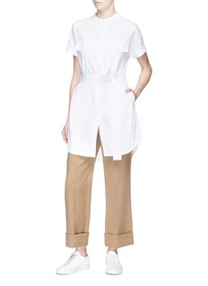 Theory Belted poplin cargo tunic shirt