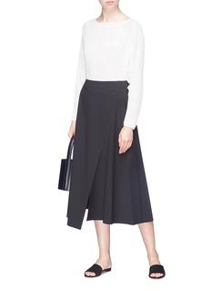 Theory Split front bouclé mock wrap skirt