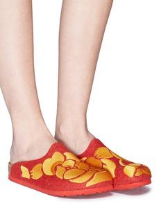 BIRKENSTOCK x Ms MIN Amsterdam花卉刺绣羊毛平底拖鞋