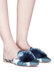 Aquazzura 'Powder Puff' pompom ikat print twill slippers