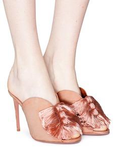 Aquazzura 'Lotus Blossom' fringe bow suede mules