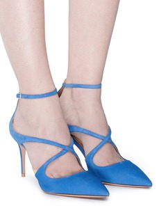 Aquazzura 'Viviana' cross strap suede d'Orsay pumps