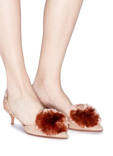 Aquazzura 'Powder Puff 45' pompom suede slingback pumps