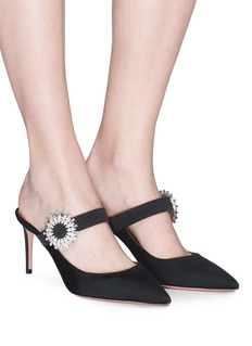 Aquazzura 'Blossom' glass crystal buckle grosgrain Mary Jane mules