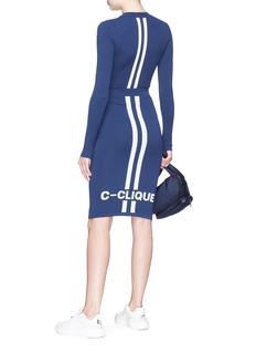 C-CLIQUE 'Portland' logo jacquard stripe knit pencil skirt