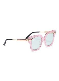 Gucci Web stripe temple glitter acetate square sunglasses