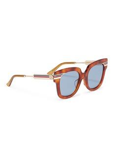 Gucci Web stripe temple tortoiseshell acetate square sunglasses