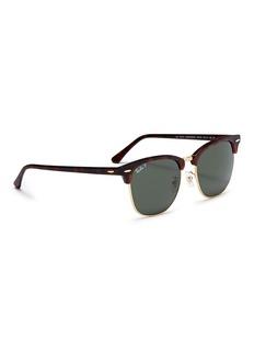 Ray-Ban 'Clubmaster Classic' metal rim tortoiseshell acetate square sunglasses