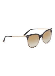 Dolce & Gabbana Metal temple cheetah acetate mirror square sunglasses