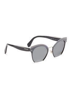 miu miu 'Rasoir' cutout rim browbar mirror cat eye sunglasses